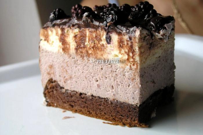 Tort cu mousse de fructe si ciocolata alba