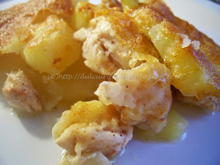 Cartofi gratinati cu piept de pui la cuptor