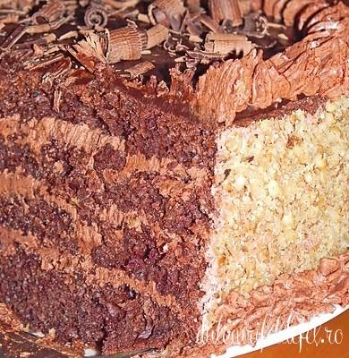 Sectiune tort cu nuca si ciocolata