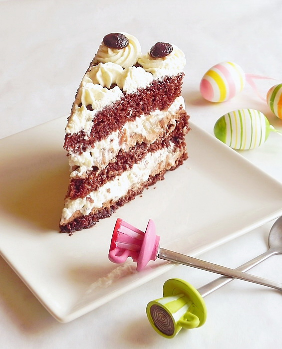 Tort cu ciocolata, fructe si frisca