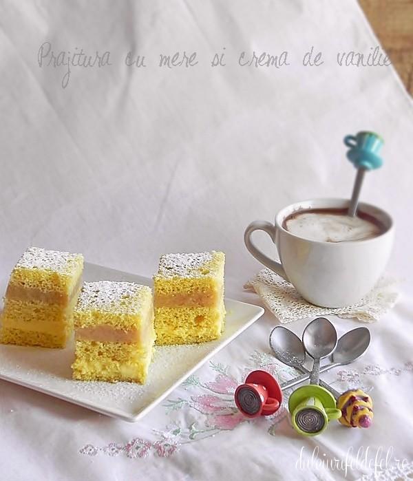 prajitura cu crema de vanilie si mere