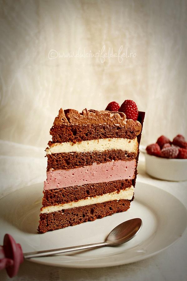 Tort cu zmeura si ciocolata
