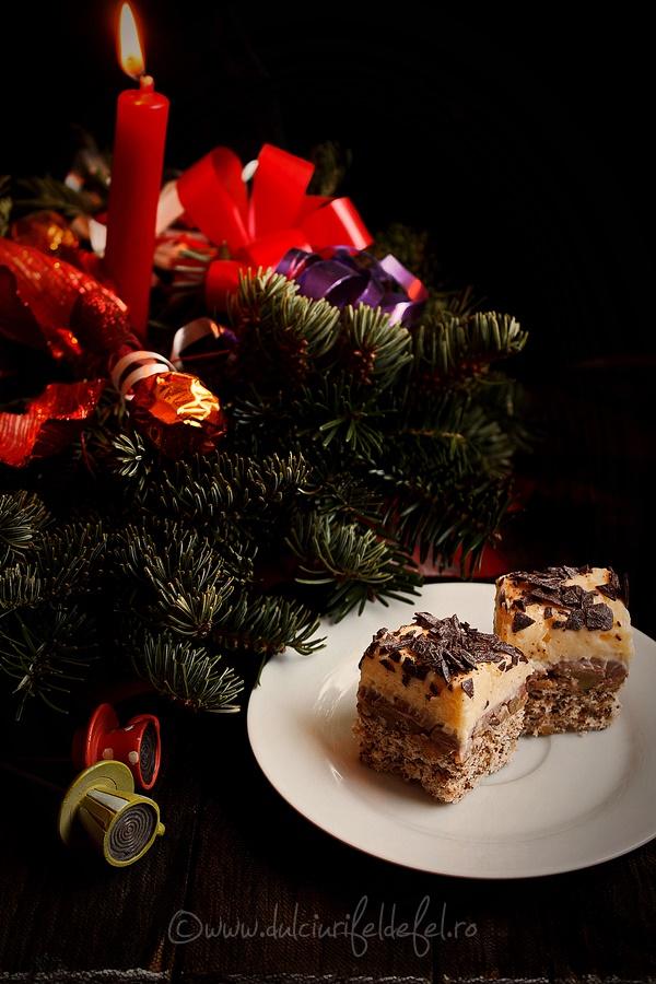 Prajitura cu crema de vanilie, nuca si ciocolata