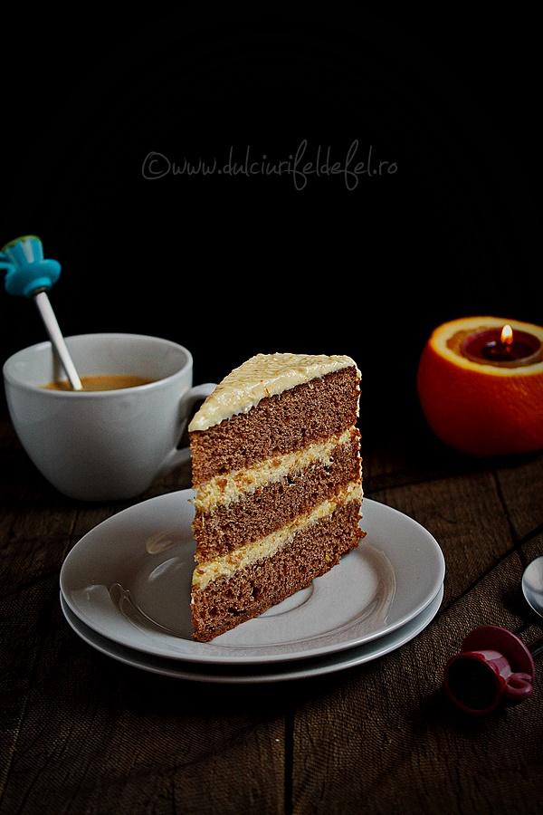 Tort cu portocale si blat cu ciocolata