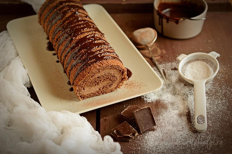 Rulada ded cacao cu crema de ciocolata