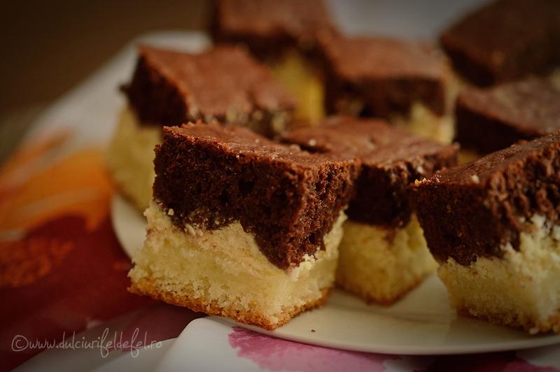 Prajitura turnata cu branza si cacao